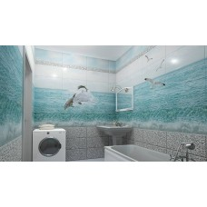 Панель UNIQUE фигурный Голубая лагуна три дельфина (узор) (0,3м*2,7м*8мм)