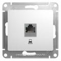 Розетка компьютерная 5е в рамку белая GLOSSA